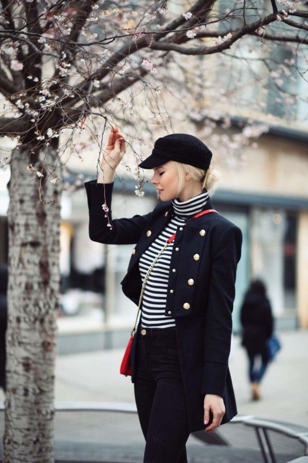 Striped Sweater with a navy Blazer