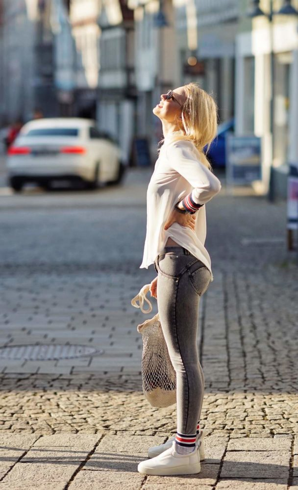 white blouse and grey freddy jeans