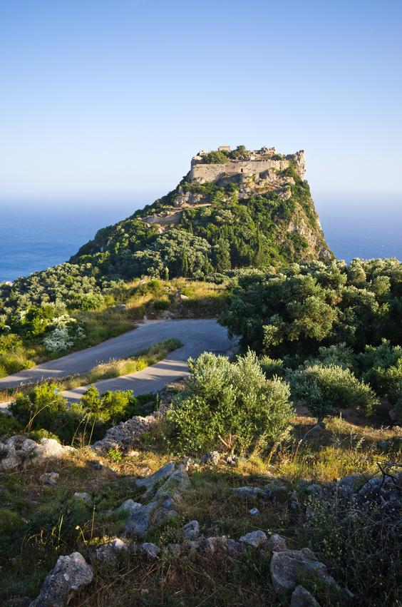 Old ruins of Angelokastro fortress - Corfu island, Greece
